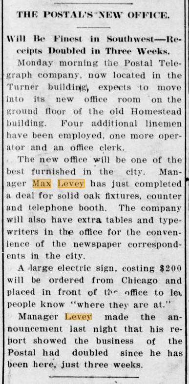 February 4, 1905 - New Muskogee Postal Telegraph Office